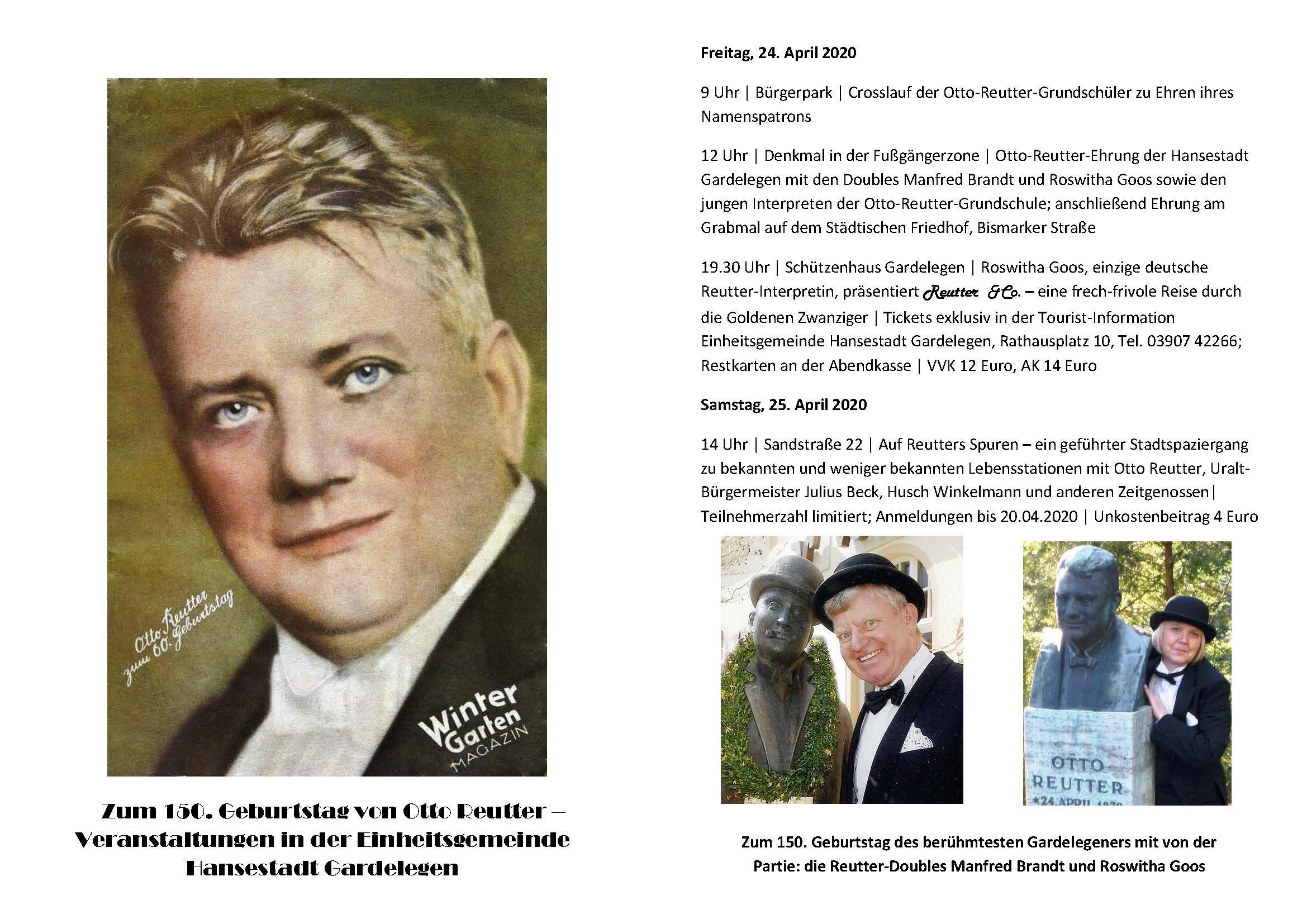 Zum 150. Geburtstag von Otto Reutter